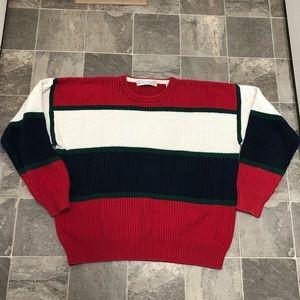 Men's vintage 90s color block crew sweater sz L